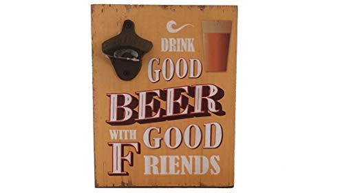 """The D - Abrebotellas para montaje en pared, madera de hierro fundido, diseño con texto en inglés """"Good Beer with Good Friends Open Here"""""""