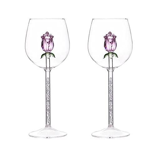 2 Piezas / Juego De Copa Creativa Personalizada Copa De Champán Rosa Taza De Cristal Transparente Taza De Cristal para Banquete De Boda Familiar Copa De Agua-Wine_Glass_Diamondcopa De Vino