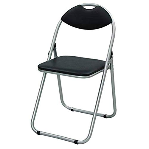 [山善] 折りたたみ パイプ 椅子 幅44.5×奥行47.5×高さ79.5cm 持ち運び用取っ手付き 軽量 完成品 シルバー/ブラック YZX-08SB 在宅勤務