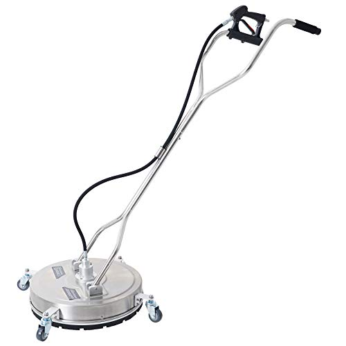CO-Z 20' Pressure Surface Cleaner with 4 Wheels, 4000psi Stainless Steel Housing Power Washer Attachment with Dual Handle, Driveway Concrete Surface Scrubber Accessory for Gas & Electric Power Washer
