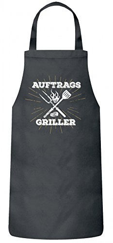 ShirtStreet Grillen Grill Party Frauen Herren Barbecue Baumwoll Grillschürze Kochschürze Auftragsgriller, Größe: OneSize,Dark Grey