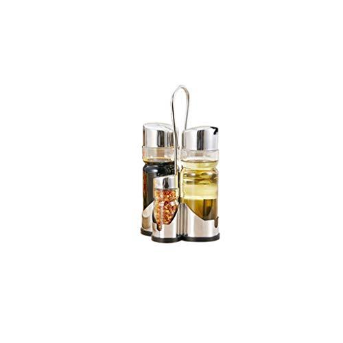 SMEJS Gewürzflaschen-Set Gewürzhalter Gewürzregal Vier-in-Eins-Ölessigspender mit Caddy-Ständer aus Edelstahl