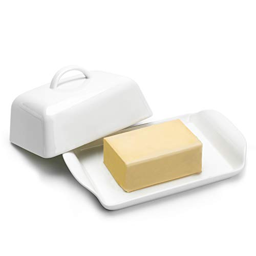 Sweese 315.101 Butterdose Porzellan, Klassische Butterschale für 250 g Butter, Groß, Weiß
