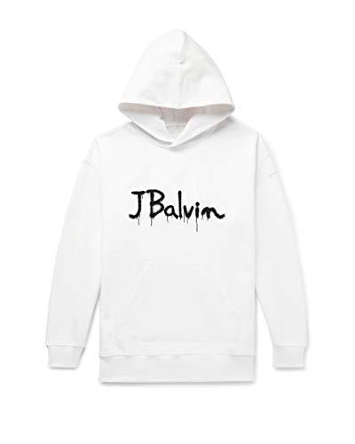 J Balvin Script Hoodie, White, XL