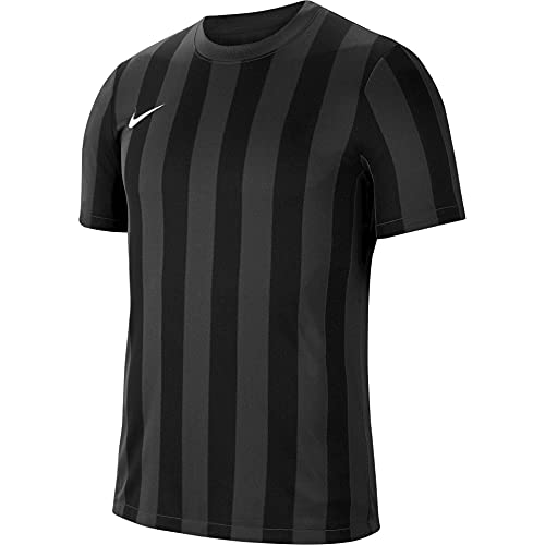 NIKE Camiseta de Manga Corta Unisex para niños a Rayas Division IV, Unisex niños, CW3819-060, Gris/Negro/Blanco, 7-8 años