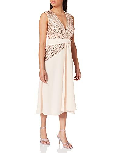 Little Mistress Jena Sequin Stripe Midi Dress Vestido Fiesta Mujer, Rosa (Nude 001), 38 (Talla del Fabricante: 10)