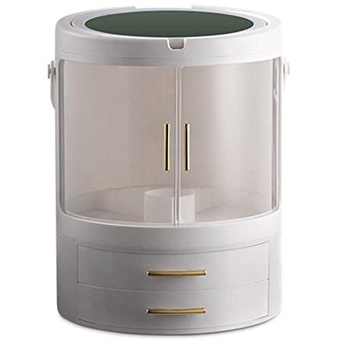 N \ A Organizador de Maquillaje Giratorio con Espejo De Tocador de Luz LED Giratorio de 360 Grados, Soporte de Exhibición Cosmético Portátil, Cajón De Múltiples Capas Transparente a Prueba