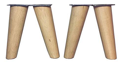patas para muebles de madera. Patas inclinadas cónicas con placa de montaje ya instalada patas de madera para sofas mesitas armarios 15 cm alto