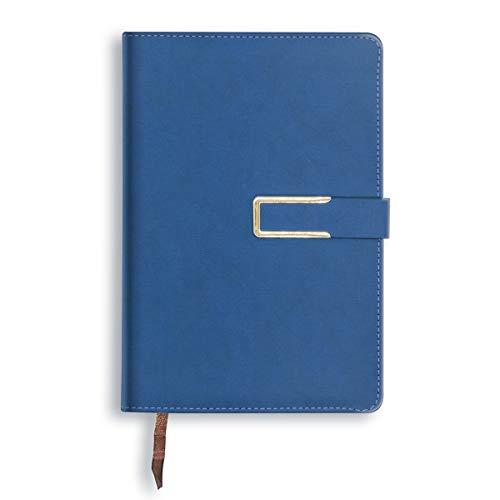Journal intime Pages lignées Journal d'écriture avec couverture en cuir dur magnétique, 256 pages / 128 feuilles de papier A5 pour bureau Business Travel School Hommes Femmes - Bleu
