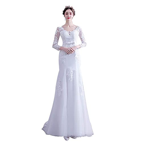 Vestido de Novia Vestidos de Baile Vestido de Novia de Sirena de Manga Larga Vestido de Novia de Encaje Vestidos de Noche, C-F, blanco, SG