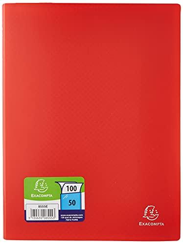 Exacompta - Réf. 8555E - 1 porte vues OPAK en polypropylène souple mat et opaque avec pochettes intérieures légérement grainées 50 pochettes / 100 vues - format A4 - rouge