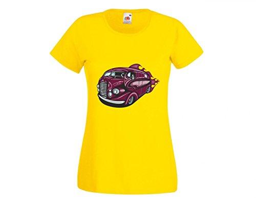 Camiseta de viaje Hotrod en lila estilo antiguo con llamas America Amy USA Auto Auto Luxus Ampliación V8 V12 Motor Llanta Tuning Mustang Cobra para hombre mujer niños 104 – 5 x l amarillo Mujer Gr.: Large
