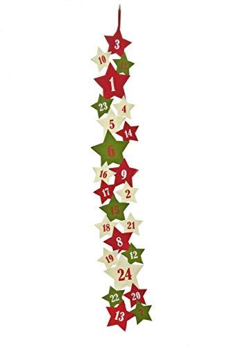 HEITMANN DECO Adventskalender zum Aufhängen und selbst Befüllen - Filz-Adventskalender - Rot, Grün, Weiß - Sterne