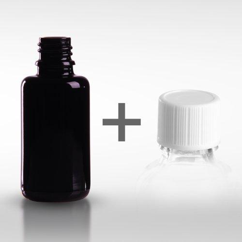 10 x Violettglasflaschen 30 ml (Miron Glas) inkl. Standard-Schraubverschluss DIN 18 (€ 2,25 pro Stk.)