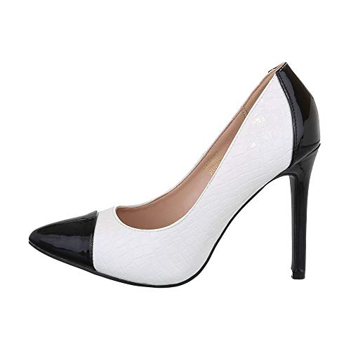 Ital-Design Damenschuhe Pumps High Heel Pumps Synthetik Schwarz Weiß Gr. 37