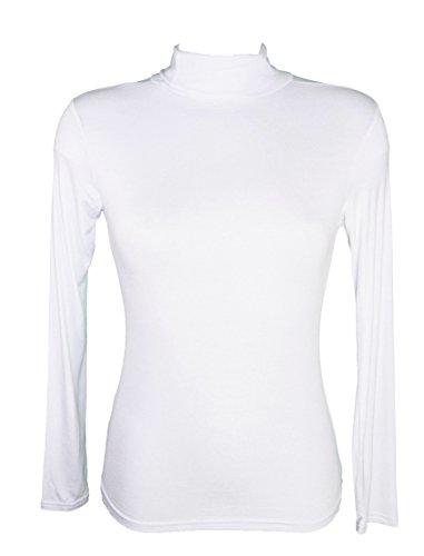 Miss Rouge T-Shirt, sous Pull Femme à Manches Longues, col roulé (Blanc)