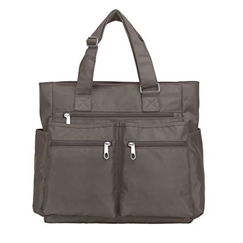 Canvas Tote Bag Waterproof Nylon Multi Pocket Shoulder Bags Laptop Work Bag Teacher Purse and Handbags for Women & Men (Grey)