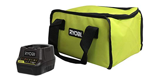 Ryobi P118B 18V Battery Charger and Soft-Sided Power Tool Bag with Cross X Stitching and Zippered Top, Bundle (Charger w/Bag) (Renewed)