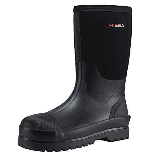 winter rubber boots HISEA Men's Rain Boots Waterproof Muck Mud Boots Insulated Rubber Boot
