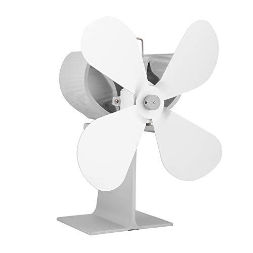 Värmepanna Fläkt, 4 Blad Värmepanna Fläkt Eldstadsfläkt för Ved- / Vedeldning, Miljövänlig och Effektiv Värmefördelning-vit