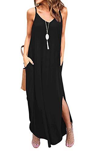 Vestidos Mujer Casual Playa Largos Boho Floral Maxi Vestido Bohemio Tirantes Playa Verano Negro XL