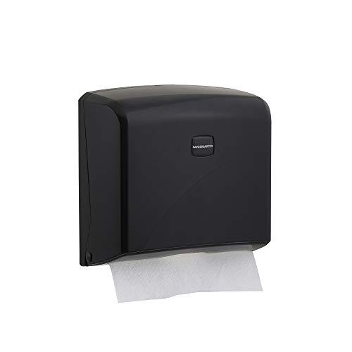 SANISMART IVY - Dispensador de toallas (200 hojas, pliegue en Z, máx. 22 cm), color negro