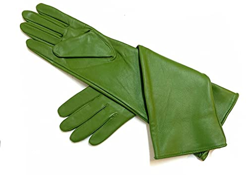 Women's Genuine Sheep Leather Ladies Long Opera Elbow Length Evening Dress Gloves (40-42 cm) by'LEATHER CANADA' (Green, X-Large)