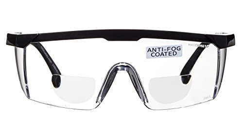 voltX 'Classic' Gafas de Seguridad Bifocales (Transparentes +2,50 dioptría), incluye cordón con tope regulable + Lente UV400 con recubrimiento antivaho