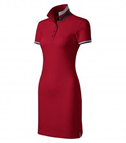 Malfini Kleid Dress Up Damen Baumwolle Damenkleid Polokleid mit 2 Knöpfen (M, rot)