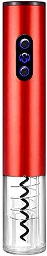 Abrebotellas de vino eléctrico con cortador de hoja de fácil operación portátil abridor de vino eléctrico automático sacacorchos para el hogar, fiesta, bar, restaurante, color rojo