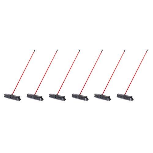 AmazonCommercial 24-inch Push Broom Kit, Medium Floor - 6-Pack