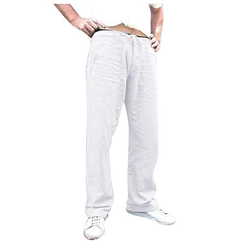 BUZHIDAO Herren Sommerhose Leinenhose Mit Tasche Gummiband Outdoorhose Laufhose Männer Sporthose Straight Lockere Freizeithose