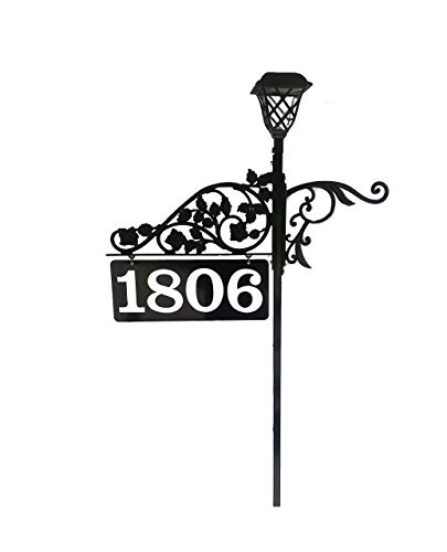 Driveway Large Address Sign - Personalized Double Sided Highly Reflective Marker with Solar Light that is Higly Visible to 911 Emergency Responders