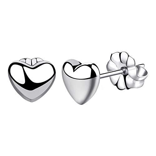 VGACETI Titanium Earrings Heart Stud Earrings, Hypoallergenic for Sensitive Ears Women Girls Men, Premium High Polished (Large Shiny Grey)