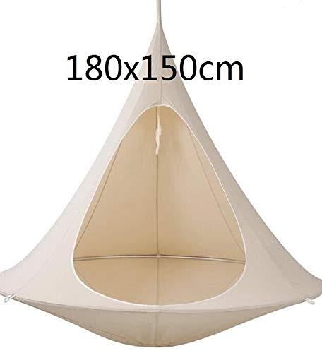 Hängematten Konische Zelt-hängende Silk Cocoon Verandaschaukel Kinder und Erwachsene im Innen- und Außenzelt Hammock (Color : White 180cm)