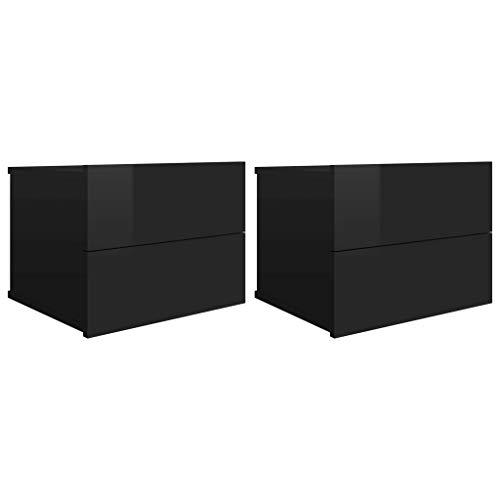 vidaXL 2X Mesitas de Noche con 2 Cajones Cómoda Rústica Natural Armario Auxiliar Muebles de Dormitorio Negro Brillante 40x30x30 cm Aglomerado