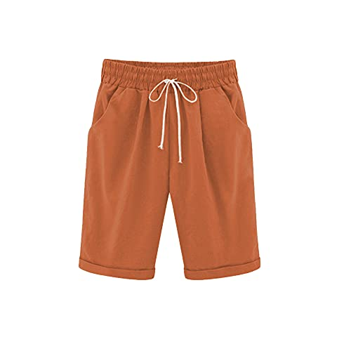 WROLEM Women Casual Summer Bermuda Shorts Drawstring with Pockets Cotton Lounge Walking Athletic Lightweight 27 Orange Red