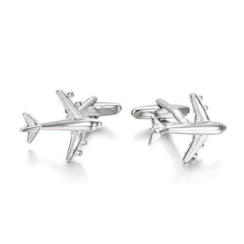 Yoursfs Flug Manschettenknöpfe Silber Farbe Spitfire Flugzeug Manschettenknöpfe Männer Edelstahl Flugzeuge Kriegsflugzeuge Jet Pilot Silber Manschettenknöpfe einzigartige Hochzeit