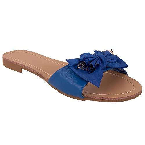 Primtex - Sandalo da donna in simil pelle con fiocco in tessuto e foglie dorate, Blu (blu), 38 EU