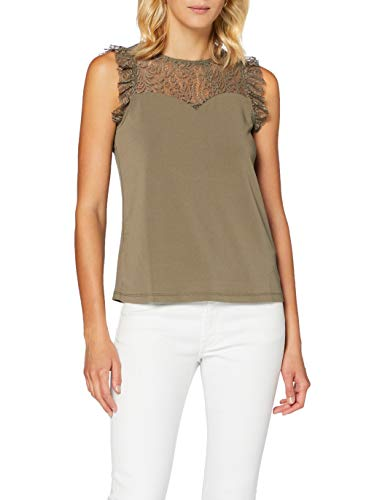 Vero Moda VMALBERTA Sweetheart Lace S/L Top Noos Blouse, Taupe, XL Femme