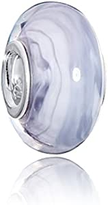Materia lila crema objetos de cristal de murano beads - cuentas de cristal lila y blanco de cerámica con 925 de plata de manillas para European Beads Pulsera #1582