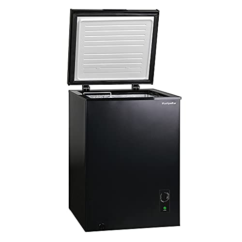 Montpellier MCF99BK-E   99 Litre Freestanding Chest Freezer - Black   2 Year Warranty - Suitable for Outbuildings and Garages (Black)