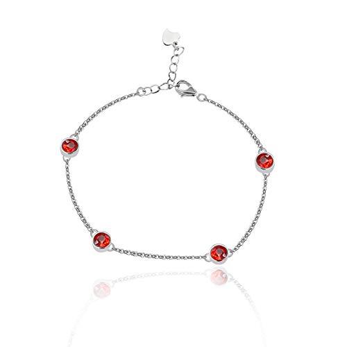 Cadena de plata esterlina Uloveido 4 piedras de granate rojo 1.6 quilates buena suerte pulsera para niñas protección FB045