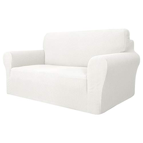 Maxijin Super-Stretch-Couchbezug für 2-Sitzer-Sofa, 1 Stück, universeller Sofabezug für Wohnzimmer, Jacquard-Spandex, Möbelschutz für Hunde, Haustierfreundlich, weiß, 2 Seater/Loveseat