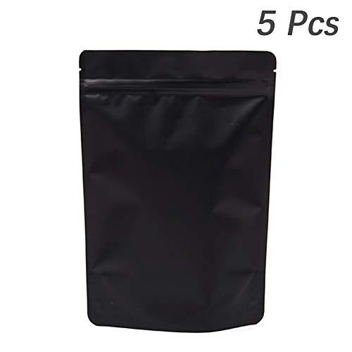 5 zwarte deodorizing verzegelde tassen, herbruikbare aluminiumfolie zak voedsel tas voor kruiden, specerijen, thee, kaas geactiveerde koolstof voering, Heavy Duty, afneembare handvat