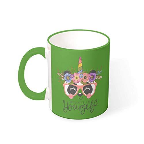 O2ECH-8 Mischen Kaffee Becher mit Griff Keramik Humor Becher - Cartoon Freunde Gegenwart, Anzug für Kinder verwenden 11 OZ Irish Green 330ml