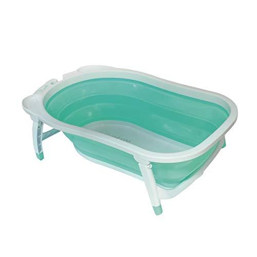 Babysun Baignoire Bébé, Pliable Ultra Compacte, 0-12 Mois, Contenance: 35L, Turquoise