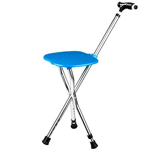 Opvouwbare verstelbare wandelstoel Lichtgewicht met stoel Mobiliteit Statief Kruk Draagbare Vouwstoel Stick voor Oudere Blauw