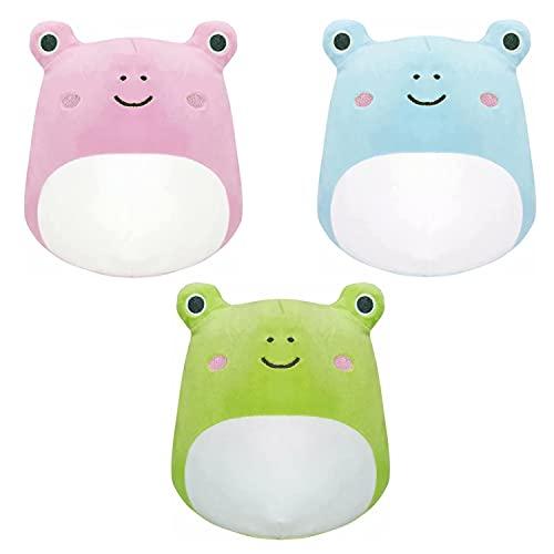 LRBHSH Kawaii Frog Plush Pillow 3Pcs Set Soft Cute Stuffed Toys Animales Peluches Regalo para niños y niñas, 20 CM / 7,9 Pulgadas, Rosa + Azul + Verde