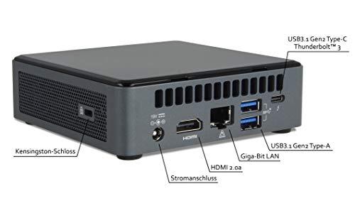 Intel NUC Mini Komplett PC, i7-10710U Hexa Core 6X 4.70GHz, 16GB DDR4 RAM, 500GB NVMe SSD, Win10 Pro, Thunderbolt 3, USB 3.1, HDMI 2.0a, WLAN AX, BT 5.0, Intel UHD Grafik, NUC10i7FNK